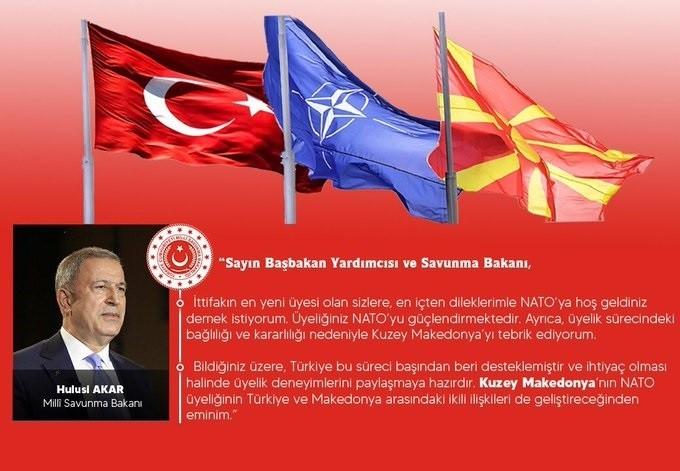 Bakan Akar Kuzey Makedonya Cumhuriyeti'nin NATO'ya katılışını kutladı