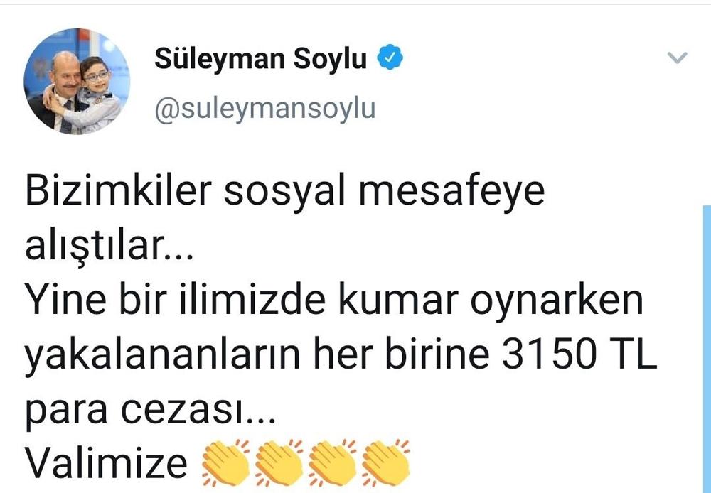 Bakan Soylu'nun paylaştığı o ilde 11 kişiye 34 bin 650 TL ceza kesildi