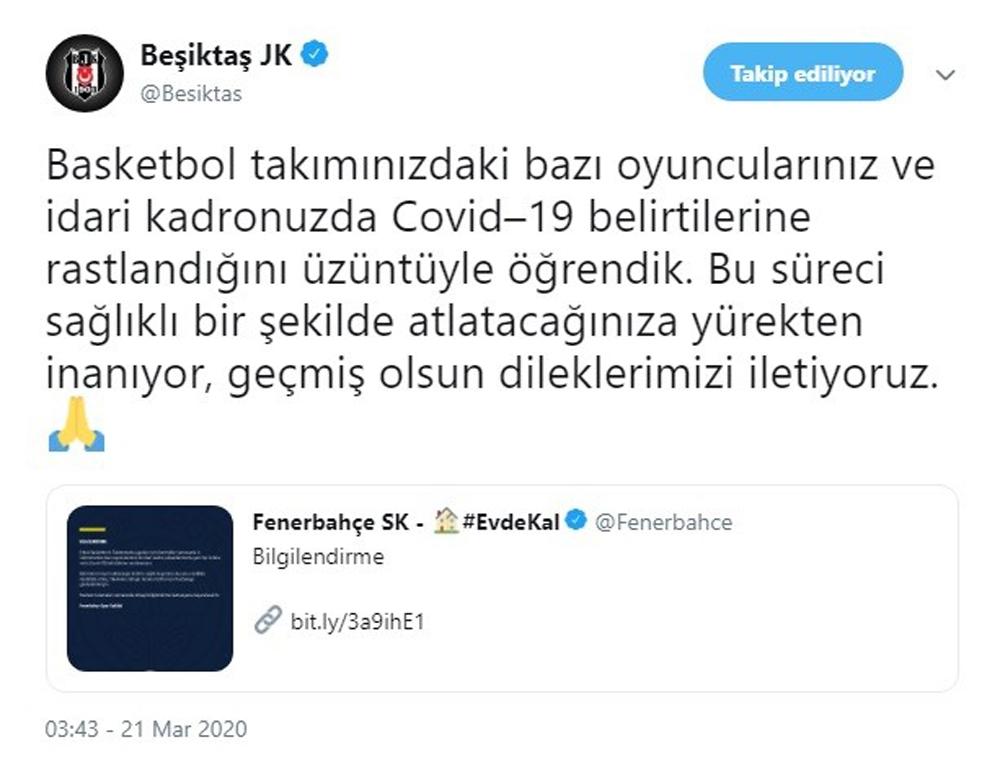 Beşiktaş'tan Fenerbahçe'ye geçmiş olsun mesajı