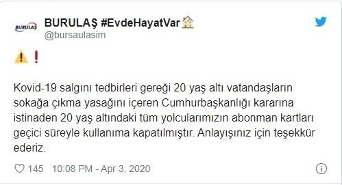 Bursa'da 20 yaş altı gençlerin toplu ulaşım kartları iptal edildi