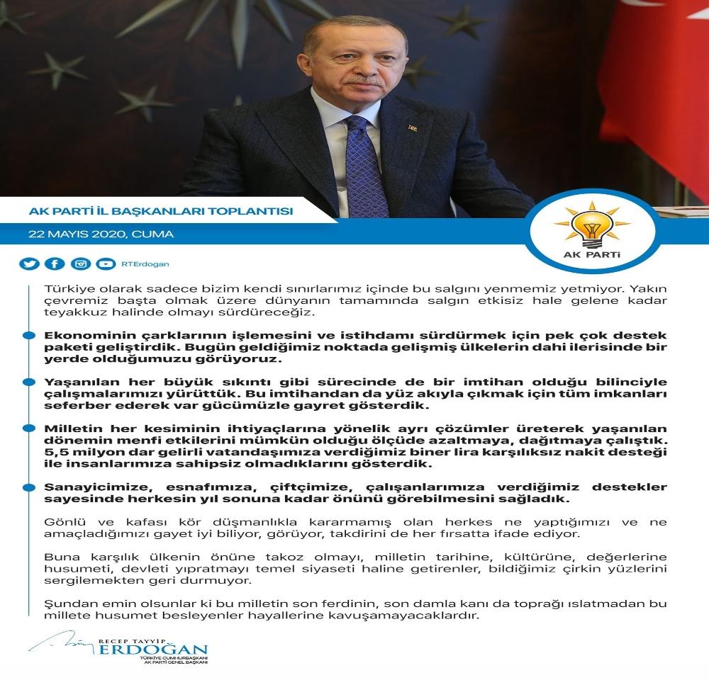 """Erdoğan: """"Salgın dünyanın tamamında etkisiz hale gelene kadar teyakkuz halinde olacağız"""""""