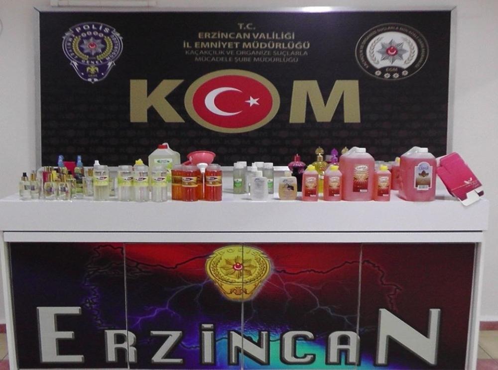 Erzincan'da sahte kolonya üreten depoya baskın