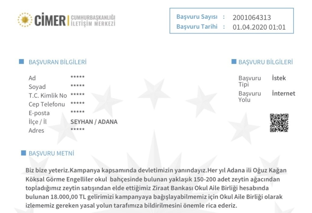 İletişim Başkanı Altun 'Milli Dayanışma Kampanyası'na destek için gelen başvuruları paylaştı