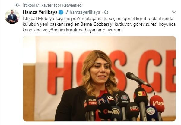 Kayserispor Kulüp Başkanı Berna Gözbaşıya Tebrik Yağıyor