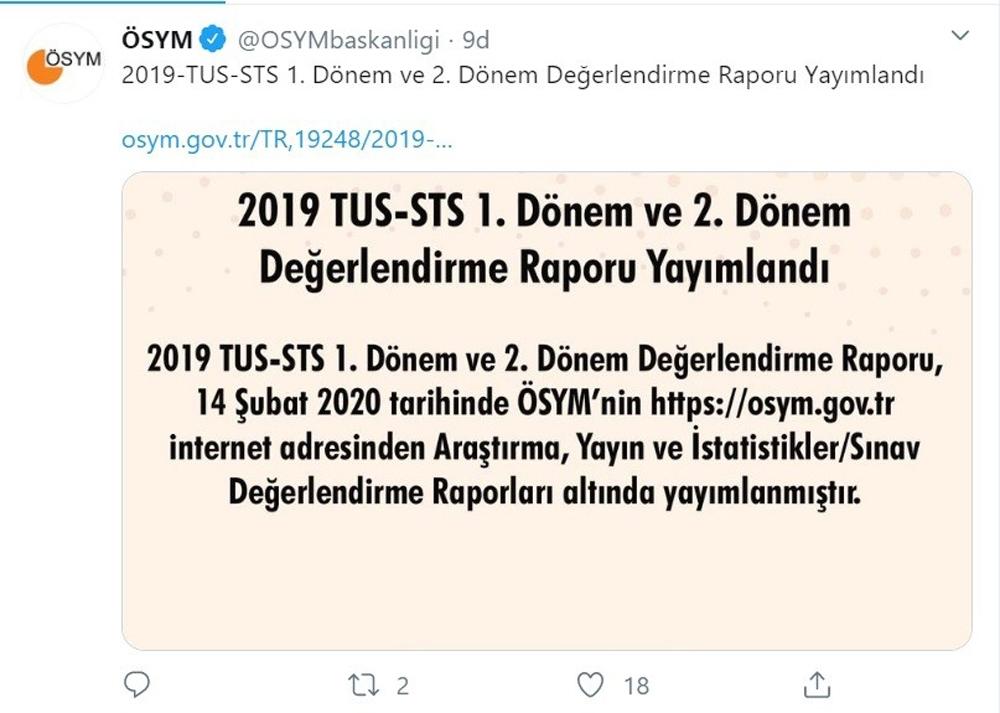 ÖSYM, 2019-TUS ve STS değerlendirme raporlarını yayımladı
